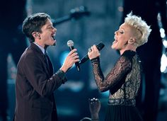 Nate Ruess and Pink perform on the 56th Annual GRAMMY Awards on Jan. 26 in Los Angeles