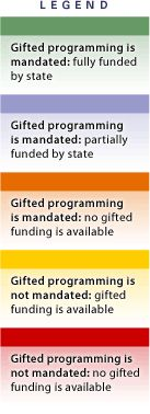 State by state comparison of funding etc for gifted students.