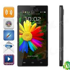 """#TweetMonsters HD5000 Quad-core Android 4.2 WCDMA Bar Phone w/ 5.0"""" IPS, Wi-Fi, GPS, RAM 1GB and ROM 8GB - Black from 149,= for Euro 94,60"""