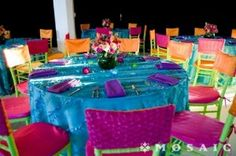 there's more chairs than anything else in the room--a little chair cap can pack a BIG punch! partymosaic.com