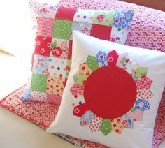 happy little cottage: Pam Kitty Morning fabric Cute Cushions, Cushions To Make, Patchwork Pillow, Quilted Pillow, Quilting Projects, Sewing Projects, Quilting Tutorials, Sewing Ideas, Handmade Pillows