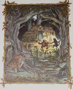 Rumpelstiltskin Fairy Tale Illustration - Original 1961 Childrens Nursery Tasha Tudor Illustration