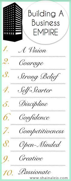 10 Keys to Building a Business Empire! www.shainaleis.com