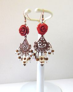 Day of the Dead Wedding Earrings Red Rose Sugar Skull Chandelier Leverback Dangle by sweetie2sweetie on Etsy https://www.etsy.com/listing/251631294/day-of-the-dead-wedding-earrings-red