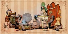 Otto and Victoria. Domesticated octopus by Brian Kesinger.