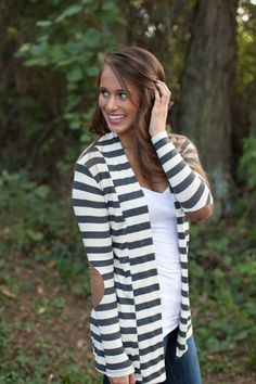 The Pink Lily Boutique - Charcoal Grey Stripe Patch Cardigan CLEARANCE!!!, $30.00 (http://thepinklilyboutique.com/charcoal-grey-stripe-patch-cardigan-clearance/)