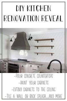 DIy Kitchen Renovation Reveal - This beautiful white and gray kitchen was transformed from an outdated brown on brown kitchen! The post contains links to all the how to information so you can acheive any part of this kitchen in your own home as well! Concrete countertops, painting kitchen cabinets, building a vent hood, extending the cabinets to the ceiling, it's all on the blog! You must see the before! #kitchenideas #kitchentransformation #kitcheninspiration #subwaytile #openshelving