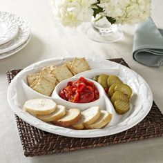Birch Lane Mariner Chip and Dip Set A raised school-of-fish motif lends character to this pretty and practical platter, which features divided compartments for snacks and dip.