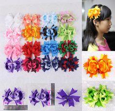 "2016 new 6/9/12/16pc 3"" Baby Contrast color Girl Grosgrain Hair bow clips 2787 Y #MyOwnUniqueDesign"