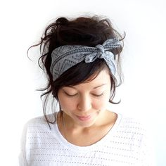 LOW IN STOCK Tie Up Headscarf Grey Tribal by ChiChiDee on Etsy, £12.00