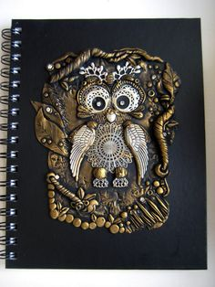 An owl journal cover made out of polymer clay by RoyalKitness