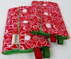 Holiday Swirls Baby Carrier Teething Pads, Drool Pads, Strap Wraps - Reversible/Water Resistant - 1 pair - for Ergo, Beco, Bjorn, Snugli