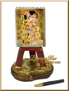 """Klimt """"The Kiss"""" Painting on Easel Limoges Box by Beauchamp"""