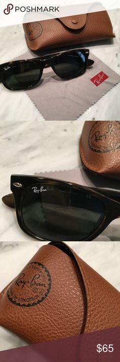 Ray Ban New Wayfarer Sunglasses Tortoise w/ Case EXCELLENT CONDITION! Barely worn Ray-Ban New Wayfarer Classic😎  Tortoise color w/ brown leather Ray-Ban case and Ray-Ban cleaning cloth included  100% Authentic, purchased from Sunglass Hut in New Orleans,