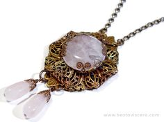 Neo-Victorian Gothic necklace with rose quartz in an antique brass filigree wrap vintage style pendant by BeataViscera Design. www.beataviscerajewelry.com