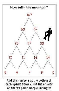 """""""Printables"""" - Great Addition Activity - """"How Tall Is The Mountain"""" - When added together the two numbers at the bottom of each triange should equal the number at the top. (unnumbered PDF included in post).  Can make as simple or complex as desired.  Could also use for multiplication."""