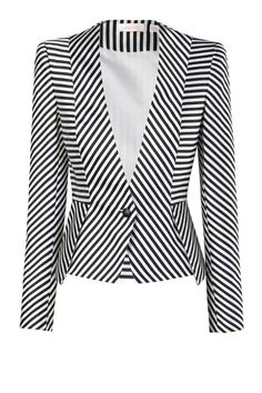 GREAT EXPECTATIONS - sharp shouldered, tailored jacket in a lush jacquard print with multi direction stripes creating chevron geometric patterns. jacket is clenched at the waist features single button closure at the front. model is wearing size Black And White Jacket, Black White, Striped Jacket, Striped Blazer, Tailored Jacket, Blazer Jacket, Jackett, Mode Outfits, Work Attire