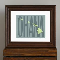 State of Hawaii Art Print - Ohana - rustic home decor - teal and green - nautical, retro, island art - 8 x 10. $ 17.75, via Etsy.