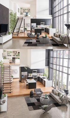 A platform elevates the kitchen and dining space and adds more tiers to the room. Upstairs you can see there is a home office with built-in shelving. The windows are the highlight and the natural light is expanded by the whiteness of the walls