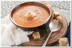Roasted Garlic Sun-dried Tomato soup packed with bold flavor topped with grilled truffle cheese croutons. All under 30 minutes!