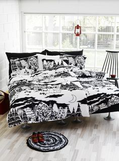 Moomin Night bed linen from Finlayson by Finlayson, Tove Jansson Duvet Bedding, Linen Bedding, Bedding Sets, Bed Linens, Dream Bedroom, Home Bedroom, Bedrooms, Bedroom Interiors, Desing Inspiration