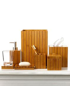 Martha Stewart Collection Bath Accessories, Bamboo Wood Soap and Lotion Dispenser - Bathroom Accessories - Bed & Bath - Macy's