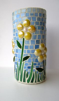 Stained Glass Mosaic Vase or Candleholder by OrganicGlassDesign, $72.00