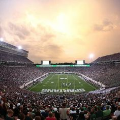 What a beautiful stadium,  no yellow or blue.  Just green everywhere. #msu #michiganstate #green #white #spartans #nike #procombat #Padgram