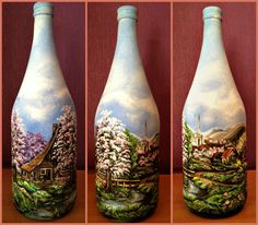 Frühling /Deko-Flasche/ Bild auf Glas / Akrylfarben / Handarbeit