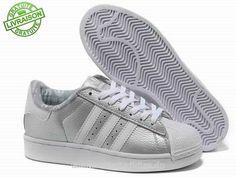 Chaussures En Cuir Femmes Adidas Superstar II Argent Blanc Soldée à 53€ T26