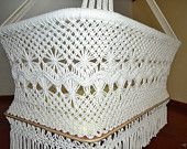 Baby Crib Cradle Hanging Bassinet With Macrame Fringe Organic White Cotton Swing Hammock 100% Handmade Mission Hammocks