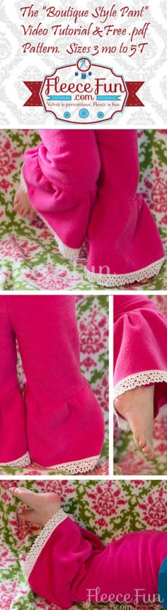 This easy pattern is free!  Video tutorial to walk you through step by step on how to make this cute pant your little girl will love to twirl in.