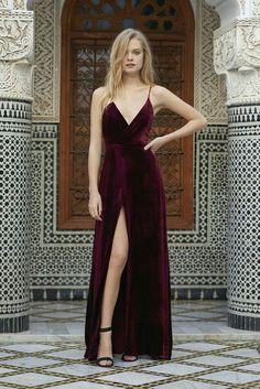 Burgundy velvet maxi dress.