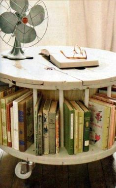 books in table.