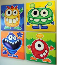 If I felt really ambitious, I could have the kids create something like this. Paint a canvas brightly; on separate paper draw and color in a monster or some ...