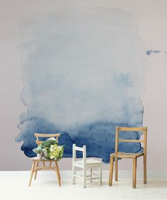 Blue Wash Removable Wall Mural, Blue and White Watercolour Painting, Self Adhesive Wallpaper, Wall Mural, Wall Decal by Nicematches on Etsy https://www.etsy.com/listing/286441497/blue-wash-removable-wall-mural-blue-and