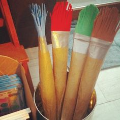 Giant paintbrushes. You can use them for real. Kids LOVE them!