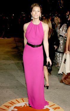Jessica Biel fucsia dress