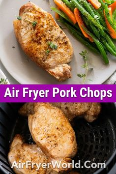 Our Air Fried Pork Chops are really easy to prepare and cook. The whole family will enjoy this dinner. Best Easy Dinner Recipes, Pork Recipes For Dinner, Pork Roast Recipes, Air Fryer Dinner Recipes, Air Fryer Recipes Easy, Pork Tenderloin Recipes, Meat Recipes, Air Fried Pork Chops Recipe, Air Fry Pork Chops