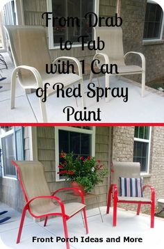 Paint Chair Ideas Transform your porch furniture with a can of spray paint. From Front-Porch-Ideas-And-Transform your porch furniture with a can of spray paint. From Front-Porch-Ideas-And- Spray Paint Chairs, Painted Chairs, Porch Chairs, Outdoor Chairs, Outdoor Decor, Patio Table, Adirondack Chairs, Dining Chairs, Kitchen Chairs