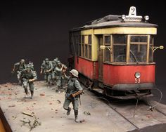Follow me! by Alexander Zelenkovsk | Voronezh, summer 1942. Figures was sculpted by author, now they are available under the Stalingrad logo. X-series tram is built entirely from scratch.