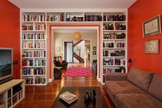 Full wall bookcase - I really want to do this around the sliding door in the dining room