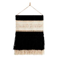 T&SHOP Hand Woven Monochrome & Gold Wall Hanging (265 CAD) ❤ liked on Polyvore featuring home, home decor, wall art, gold home accessories, gold home decor, gold wall hanging and gold wall art