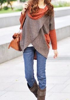 Autumn Color! Love the Boot Style! Burnt Orange Patchwork Irregular Long Sleeve Fashion Pulllover T-Shirt #Fall #Color #Street #Style #Fashion