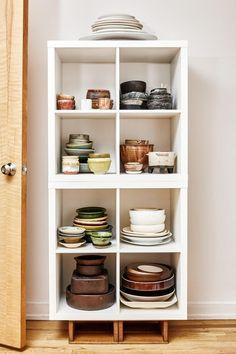 Ceramics on display in chef David Tanis's East Village kitchen.