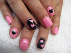 Hot pink and black with polkadots nails nailart nails ive fabulously elegant pink glitter nail art is shared during this footage this fantastic nail art is beautified with black color designed straps prinsesfo Image collections