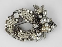 "C 1960 "" Robert "" Large Vintage Faux Baroque Pearls Clear Rhinestones Pin Brooch | eBay"