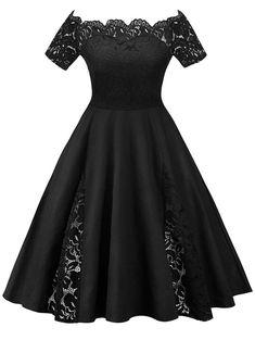 2a2f31afef Plus Size Women Cocktail Evening Dress XL-5XL Off Shoulder Lace Inset Dress