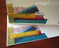 Handmade Japanese washi tape cards with embossed labels