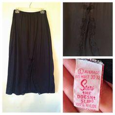 plus size vintage / vintage slip / half slip / XL Large slip / black slip / black lingerie / plus size lingerie / Sears vintage slip